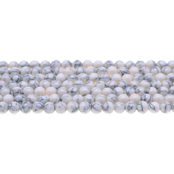 White Stabilized Turquoise Round 6mm - Loose Beads