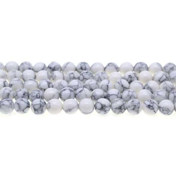 White Stabilized Turquoise Round 8mm - Loose Beads