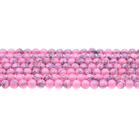 Flo Pink Stabilized Turquoise Round 6mm - Loose Beads