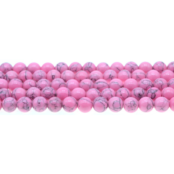 Flo Pink Stabilized Turquoise Round 8mm - Loose Beads