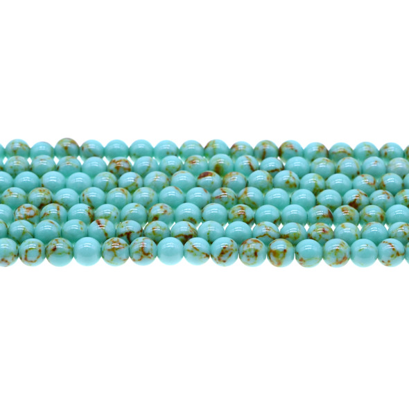 Antique Green Stabilized Turquoise Round 6mm - Loose Beads