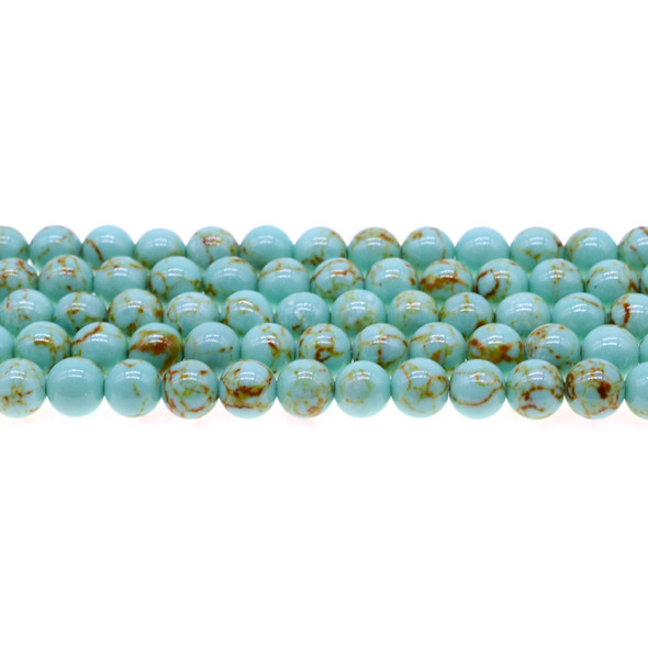 Antique Green Stabilized Turquoise Round 8mm - Loose Beads