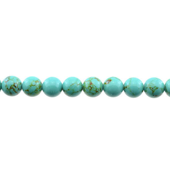 Antique Green Stabilized Turquoise Round 10mm - Loose Beads