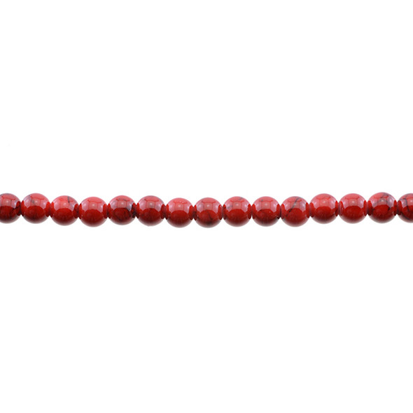 Red Stabilized Turquoise Round 6mm - Loose Beads