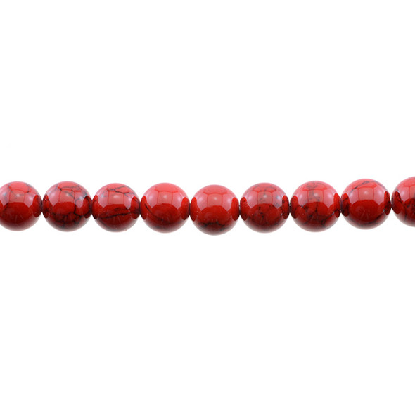 Red Stabilized Turquoise Round 10mm - Loose Beads