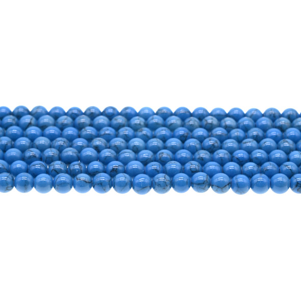 Azure Blue Stabilized Turquoise Round 6mm - Loose Beads