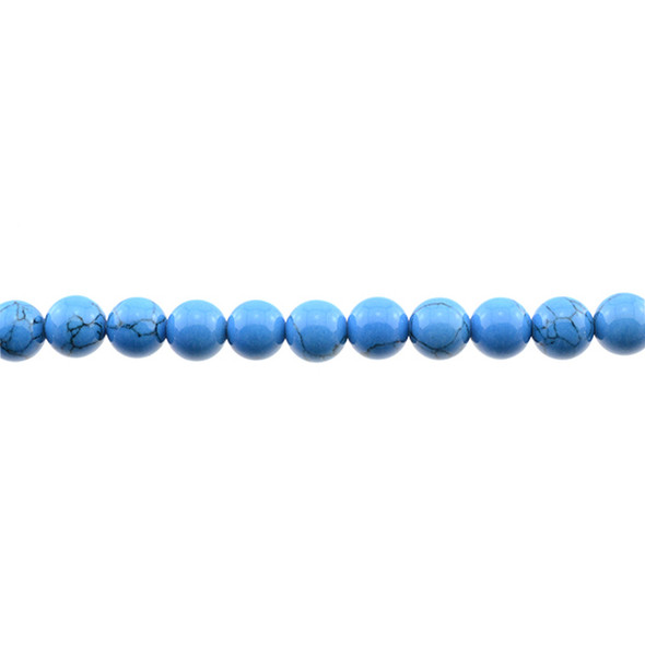 Azure Blue Stabilized Turquoise Round 8mm - Loose Beads