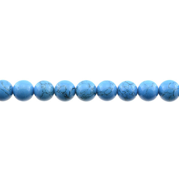 Azure Blue Stabilized Turquoise Round 10mm - Loose Beads