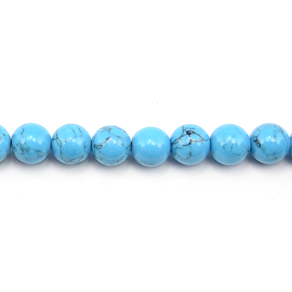Blue Stabilized Turquoise Round 10mm - Loose Beads