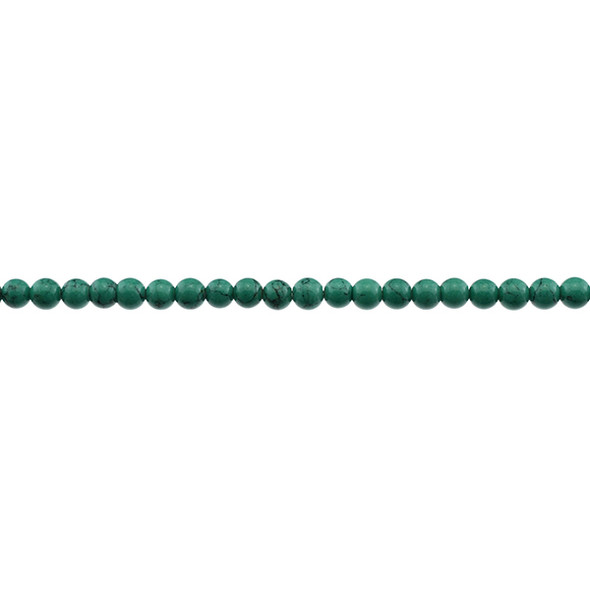 Green Stabilized Turquoise Round 4mm - Loose Beads