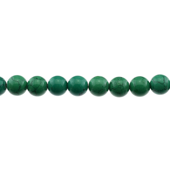 Green Stabilized Turquoise Round 10mm - Loose Beads