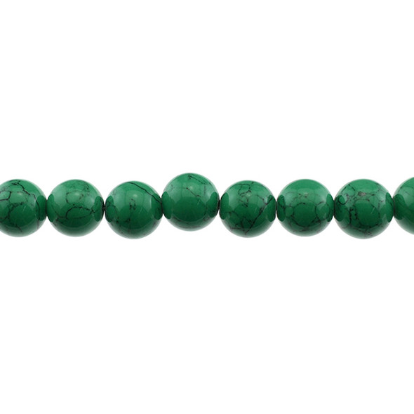 Green Stabilized Turquoise Round 12mm - Loose Beads