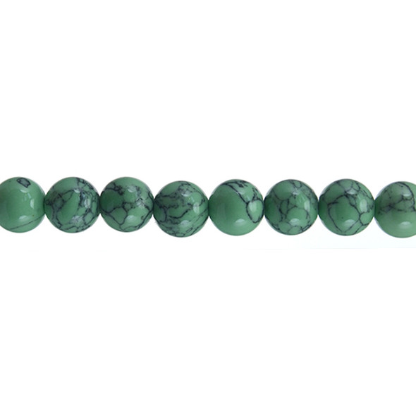 Lite Green Stabilized Turquoise Round 10mm - Loose Beads