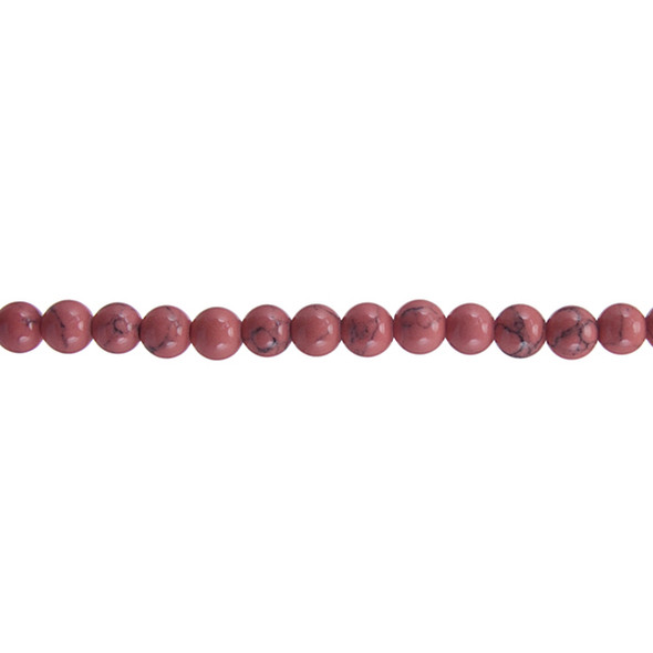 Rose Stabilized Turquoise Round 6mm - Loose Beads