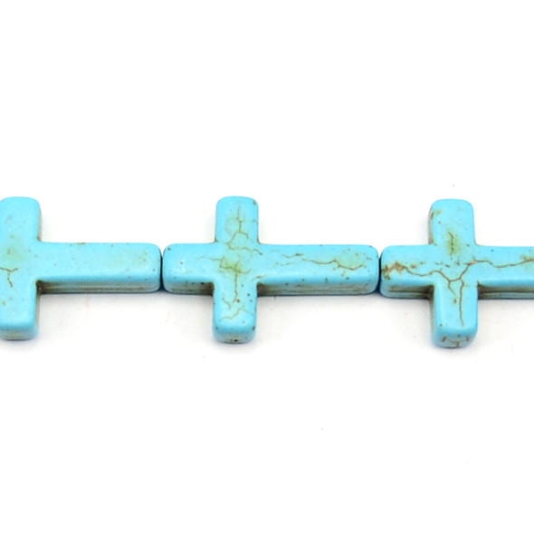 Stabilized Turquoise Cross 20mm x 30mm x 6mm - Loose Beads