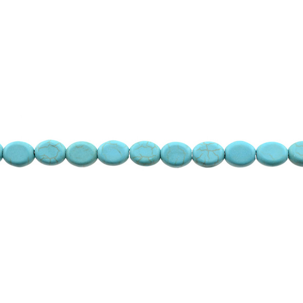 Stabilized Turqouise Oval Puff 8mm x 10mm x 5mm - Loose Beads