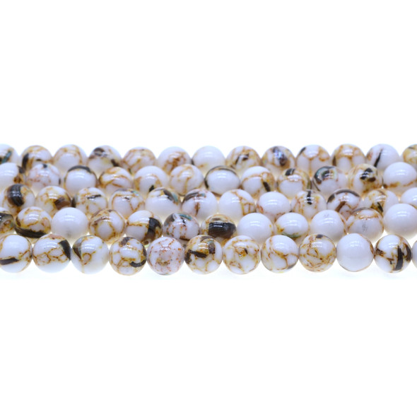 Stabilized Turquoise with Shell Round 8mm - White - Loose Beads