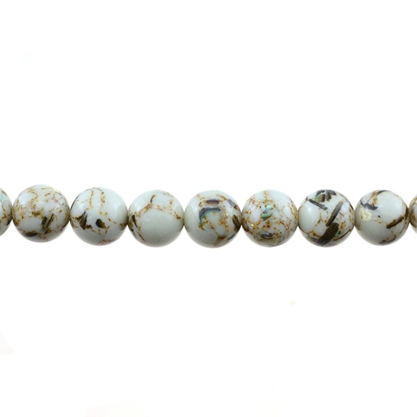 Stabilized Turquoise with Shell Round 10mm - White - Loose Beads