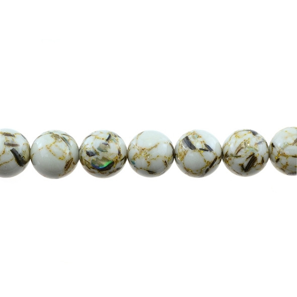 Stabilized Turquoise with Shell Round 12mm - White - Loose Beads
