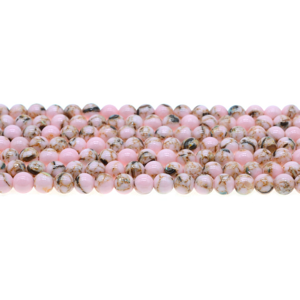 Stabilized Turquoise with Shell Round 6mm - Pink - Loose Beads