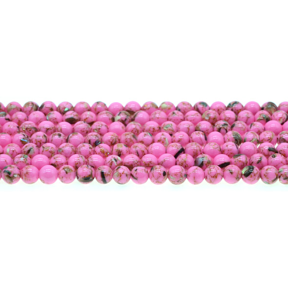 Stabilized Turquoise with Shell Round 6mm - Flo Pink - Loose Beads