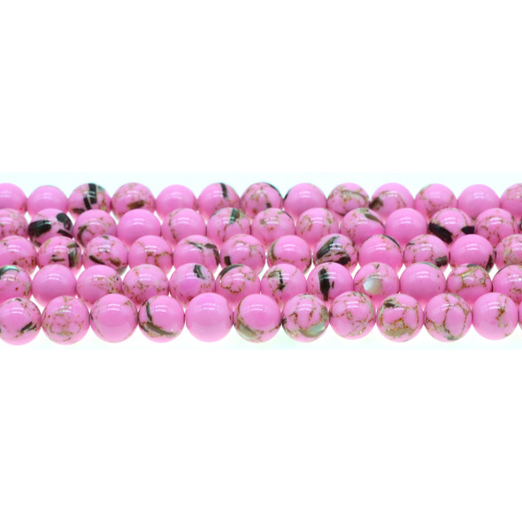 Stabilized Turquoise with Shell Round 8mm - Flo Pink - Loose Beads
