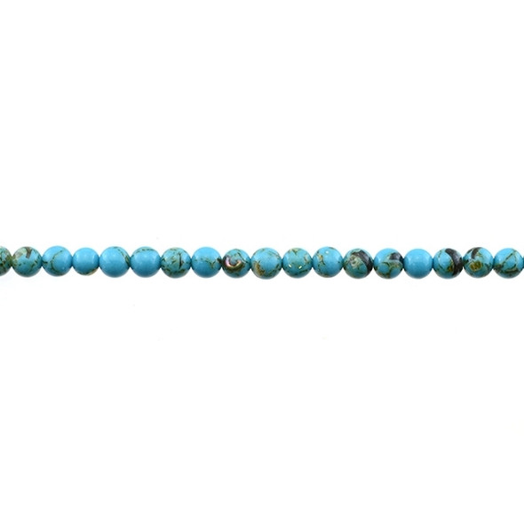 Stabilized Turquoise with Shell Round 4mm - Blue - Loose Beads