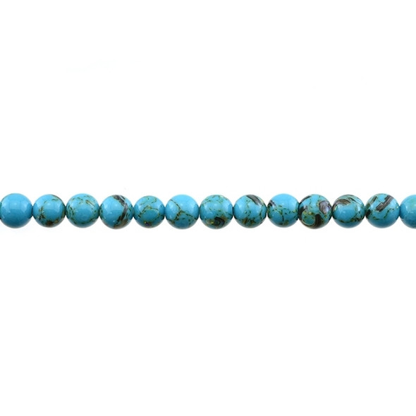 Stabilized Turquoise with Shell Round 6mm - Blue - Loose Beads