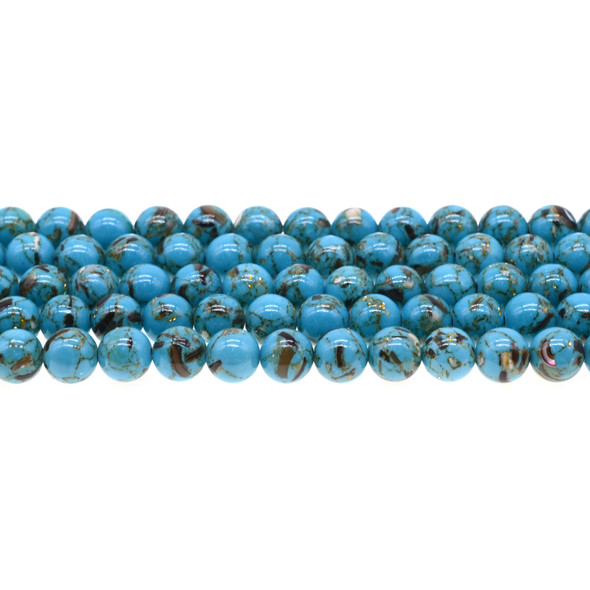 Stabilized Turquoise with Shell Round 8mm - Blue - Loose Beads