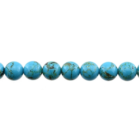 Stabilized Turquoise with Shell Round 10mm - Blue - Loose Beads