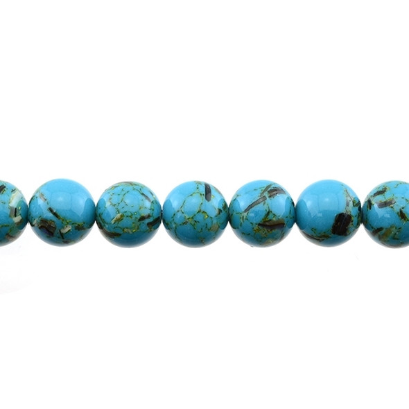 Stabilized Turquoise with Shell Round 12mm - Blue - Loose Beads