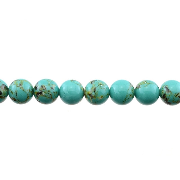 Stabilized Turquoise with Shell Round 10mm - Antique Green - Loose Beads