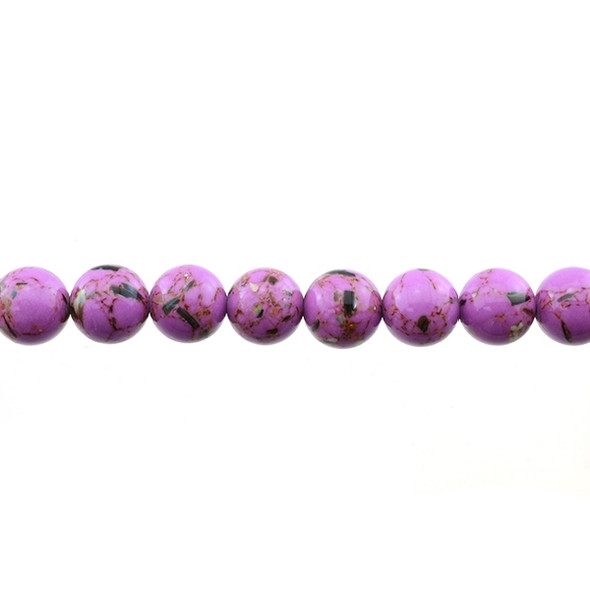 Stabilized Turquoise with Shell Round 10mm - Purple - Loose Beads