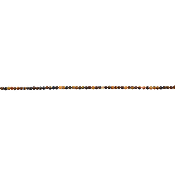 Tiger Eye AB Round Faceted Diamond Cut 2mm - Loose Beads