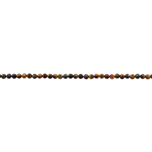 Tiger Eye AB Round Faceted Diamond Cut 3mm - Loose Beads