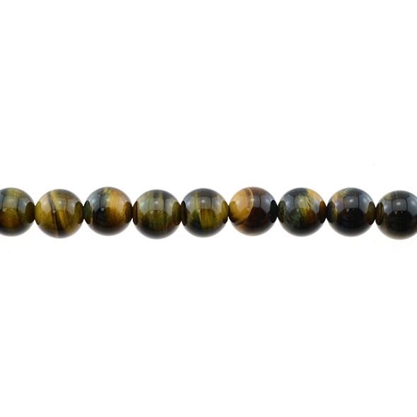 Blue Yellow Tiger Eye Round 10mm - Loose Beads