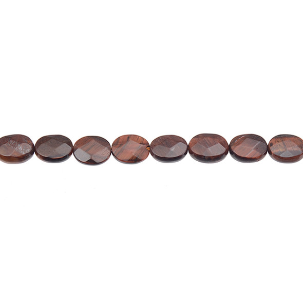 Red Tiger Eye Oval Puff Faceted 8mm x 10mm x 3mm - Loose Beads