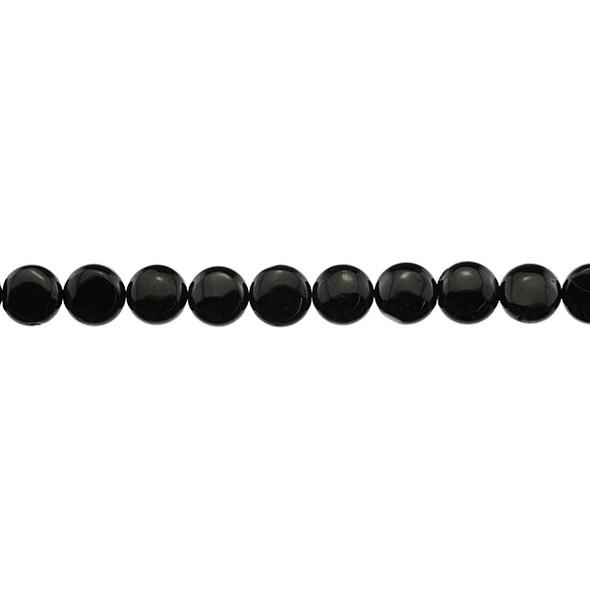 Black Tourmaline Coin Puff 10mm x 10mm x 5mm - Loose Beads