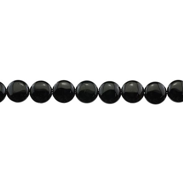 Black Tourmaline Coin Puff 12mm x 12mm x 5mm - Loose Beads