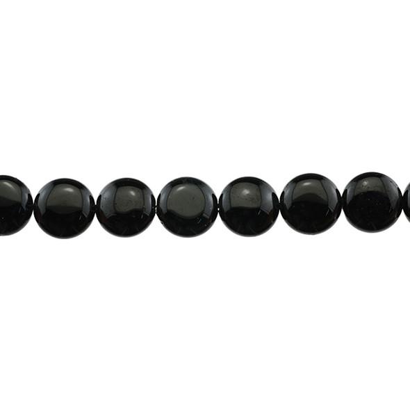 Black Tourmaline Coin Puff 14mm x 14mm x 6mm - Loose Beads