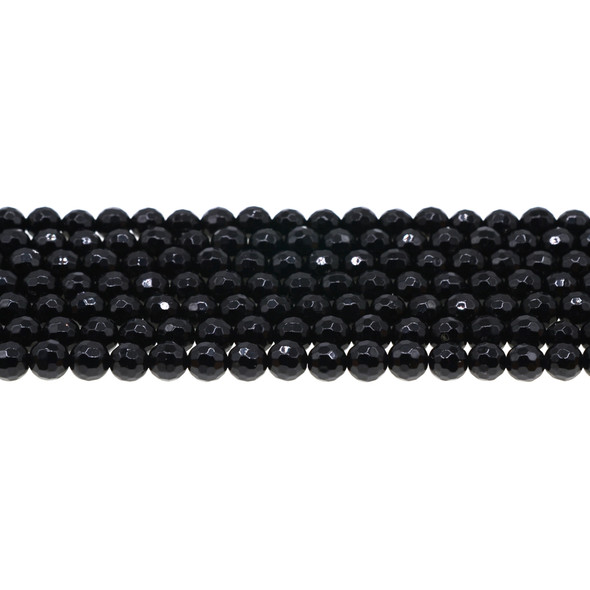 Black Tourmaline Round Faceted 6mm - Loose Beads