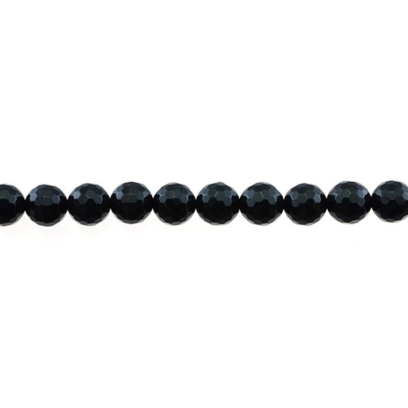 Black Tourmaline Round Faceted 8mm - Loose Beads