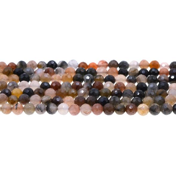 Chinese Phantom Tourmaline Round Faceted Diamond Cut 6mm - Loose Beads