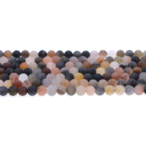 Chinese Phantom Tourmaline Round Frosted 6mm - Loose Beads