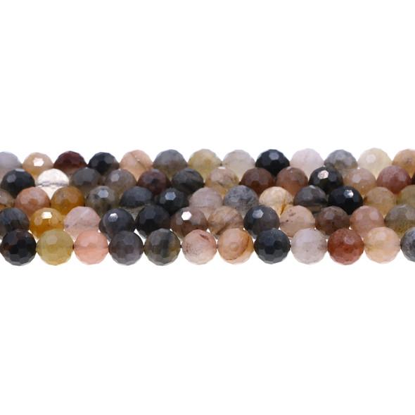 Chinese Phantom Tourmaline Round Faceted Diamond Cut 8mm - Loose Beads