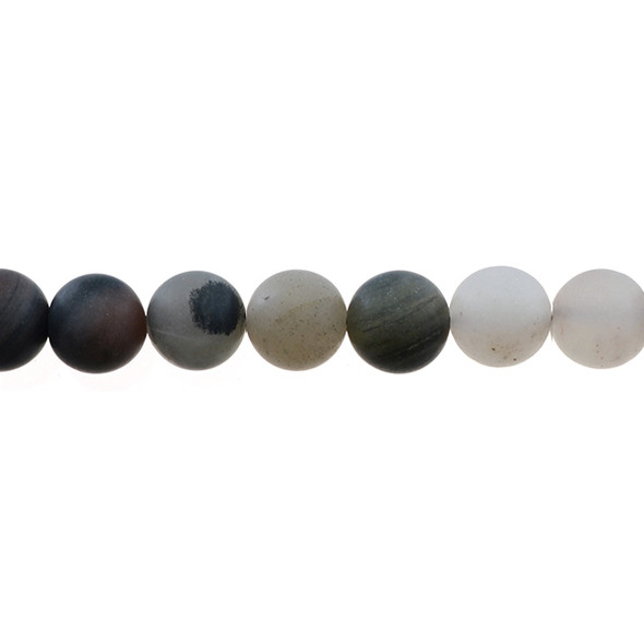 Chinese Phantom Tourmaline Round Frosted 12mm - Loose Beads