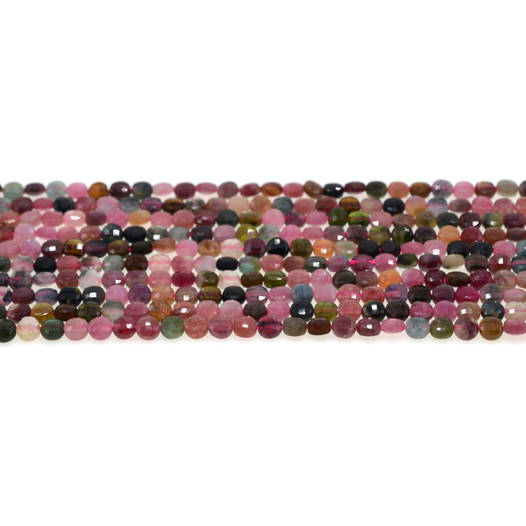 Multicolor Tourmaline Coin Puff Faceted Diamond Cut 4mm x 4mm x 2mm - Loose Beads