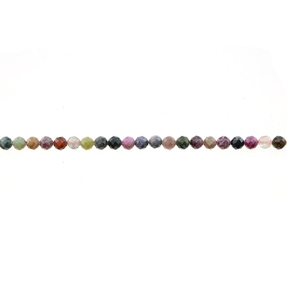Multicolor Tourmaline Round Faceted Diamond Cut 4mm - Loose Beads