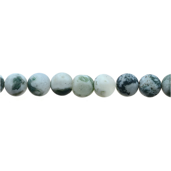 Tree Agate Round Frosted 10mm - Loose Beads