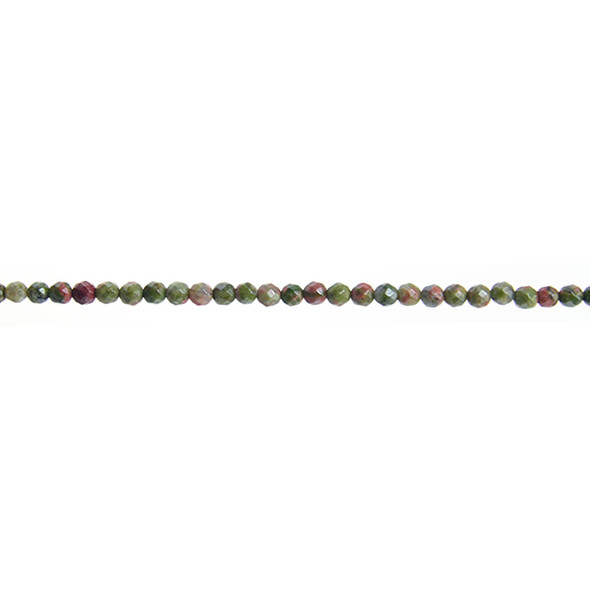Unakite Round Faceted 3mm - Loose Beads